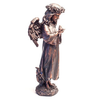 Handcrafted Copper Patina Harmony Angel Garden Decorative Accent Piece (Mexico)