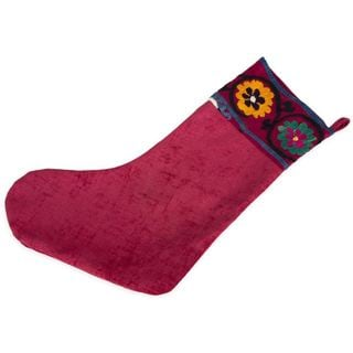 Refurbished Suzani Vintage Christmas Stocking (Uzbekistan)