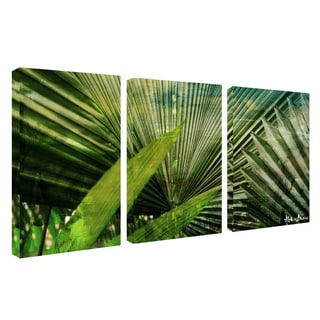 Alexis Bueno 'Green Palm' 3-piece Oversized Canvas Wall Art