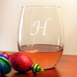 Monogrammed Stemless Wine Glasses Set of 8