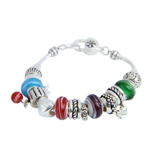 Mixed Pendant Beads and Hearts Colored Expression Bracelet