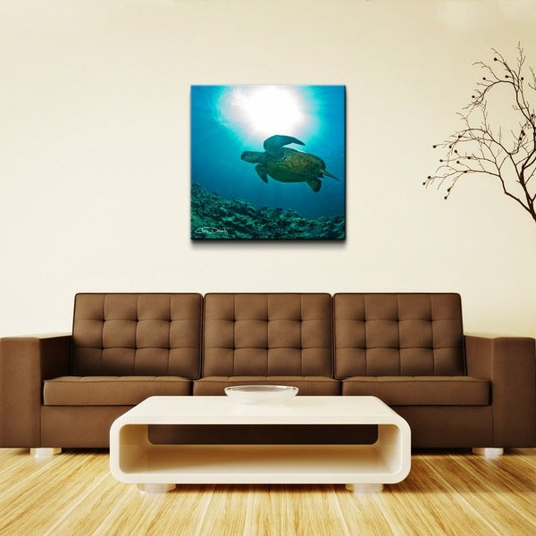 Chris Doherty 'Maui Turtle Blue' Oversized Canvas Art