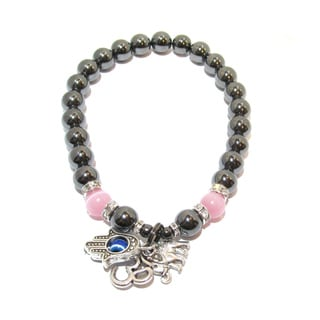 Hematite and Rose Quartz Cats Eye Protection From Negativity Bracelet