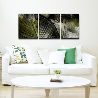 Alexis Bueno 'Abstract Palm II' 3-piece Canvas Wall Art