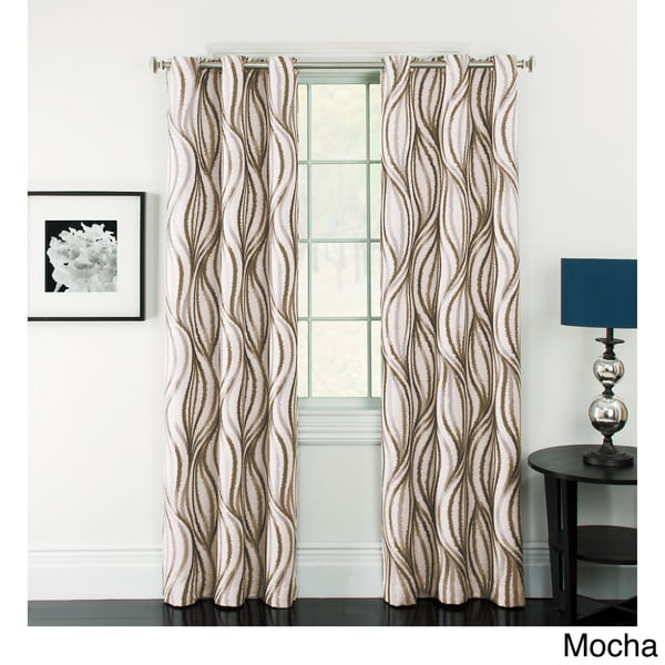 Celestina Wave Jacquard Grommet Blackout Curtain Panel Pair