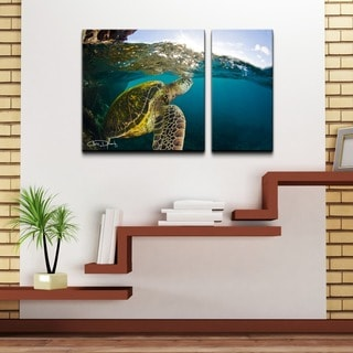 Chris Doherty 'Maui Turtle Drifts' 2-piece Oversized Canvas Wall Art