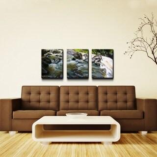 Chris Doherty 'Maui Rocky Waterfall' 3-piece Canvas Wall Art