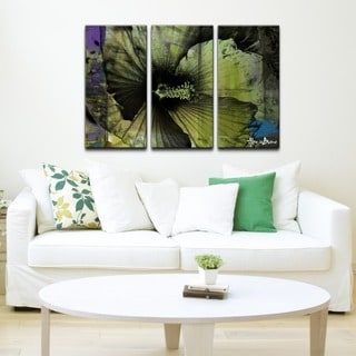 Alexis Bueno 'Tropical Flower Abstract' 3-piece Canvas Wall Art
