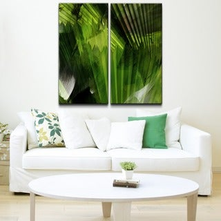 Alexis Bueno 'Abstract Palm Leaves' 2-piece Oversized Canvas Wall Art