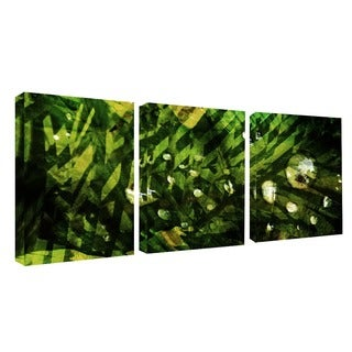 Alexis Bueno 'Abstract in Green' 3-piece Canvas Wall Art