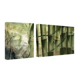 Alexis Bueno 'Bamboo Abstract' 2-piece Oversized Canvas Wall Art