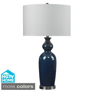 HGTV HOME Ceramic 1-light Blue Table Lamp