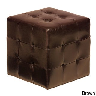 Cortesi Home Braque Brown Faux Leather Ottoman Cube