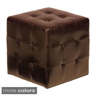 Brown Faux Leather Ottoman Cube