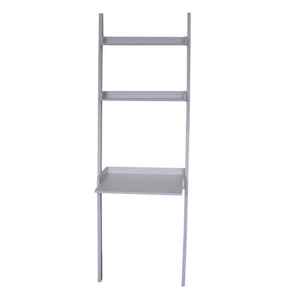 White 2-shelf Lean To Desk Unit