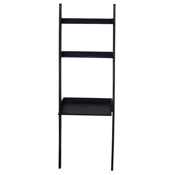 Black 2-shelf Lean To Desk Unit