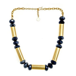Bita Pourtavoosi 24k Gold Over Brass and Navy Machine Meets Glitz Necklace