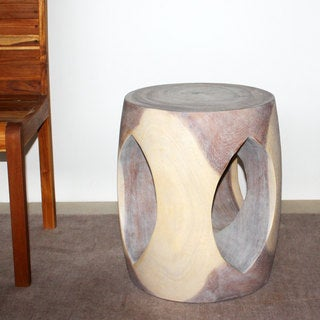 20-inch High Agate Grey Oval Windowed Accent Stool (Thailand)