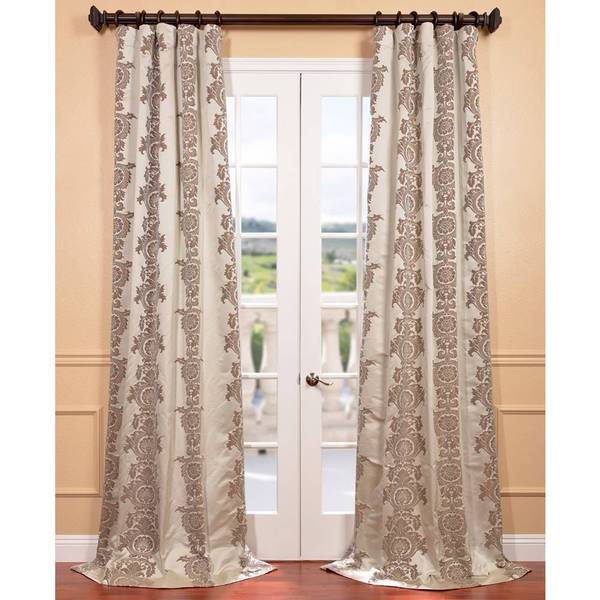 EFF Ivory Faux Silk Surrey Jacquard Curtain Panel