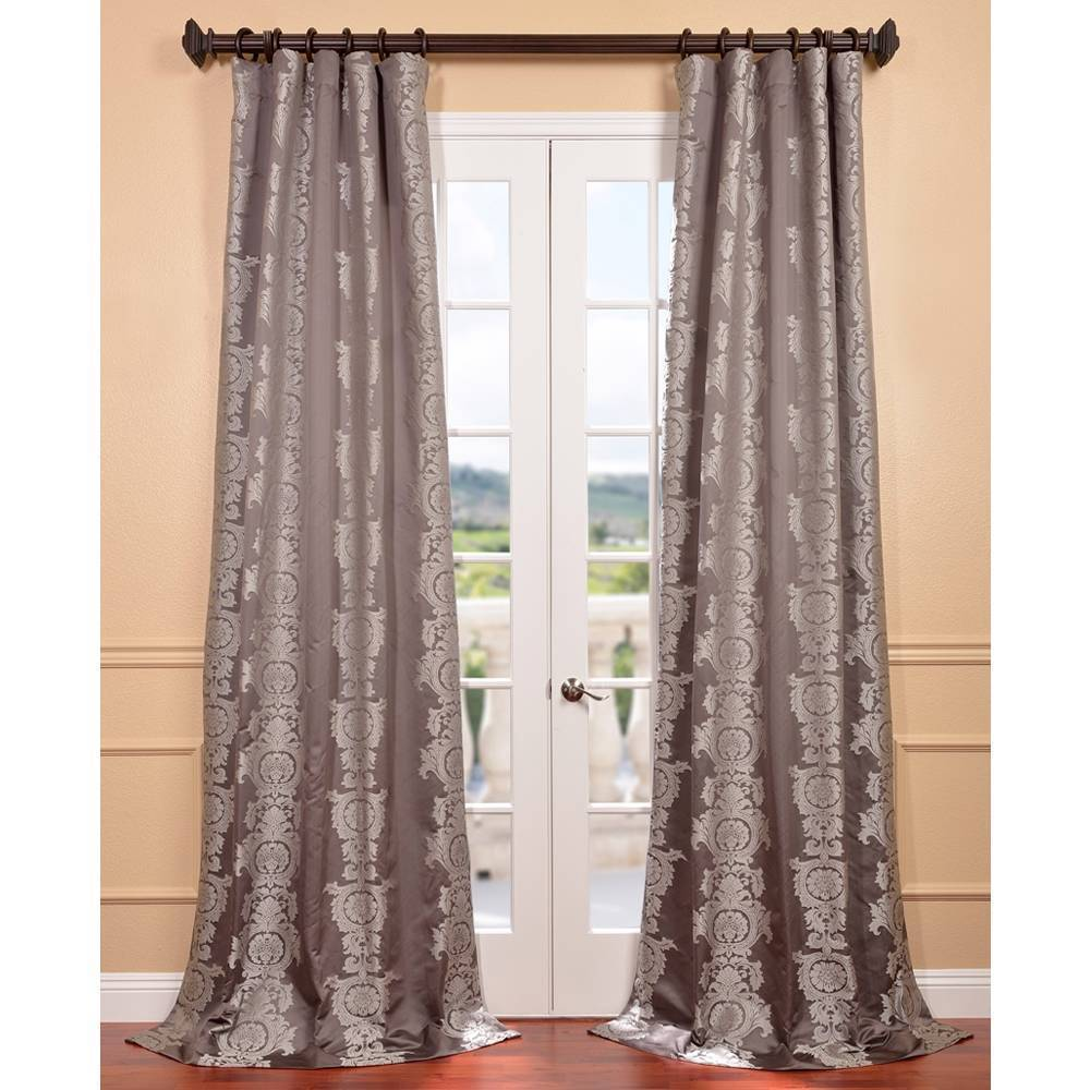 EFF Smoke Faux Silk Surrey Jacquard Curtain Panel at Sears.com