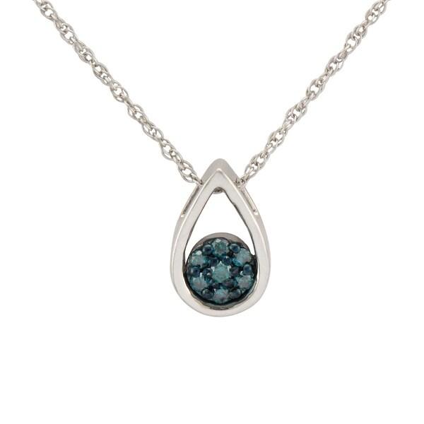 Sterling Silver 1/10ct TDW Blue Diamond Teardrop Necklace