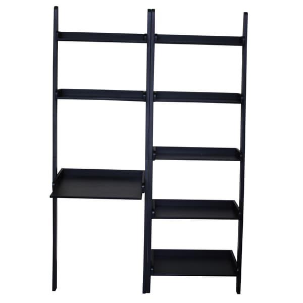 Black Solid Wood 2-shelf Desk with 5-shelf Unit