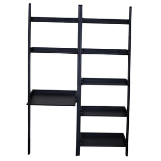Black Solid Wood 2-shelf Desk with 5-shelf Unit