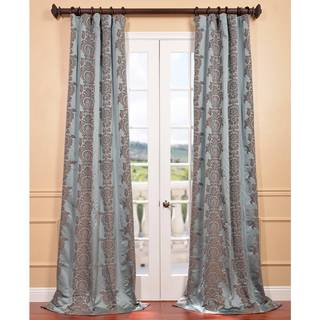 Exclusive Fabrics Surrey Aqua Jacquard Faux Silk Curtain