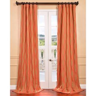 Elsa Orange Jacquard Curtain Panel