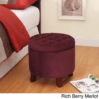 Velvet Tufted Round Ottoman with Storage