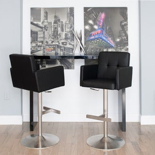 Bond Tufted Adjustable Height Swivel Bar Stool