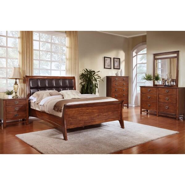 Sunny Honey Oak Square Headboard Sleigh Bed 5-piece Bedroom Set