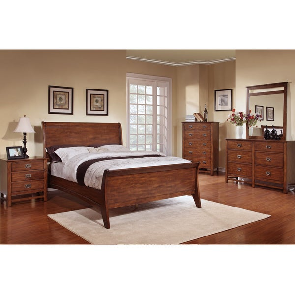 sunny honey oak sleigh bed 5 piece bedroom set 15812160 overstock