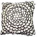 Brown and Linen Felt Petals Toss Throw Pillow (India)