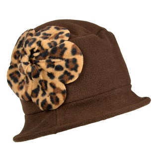 Journee Collection Womens Fleece Hat With Cheetah Print Flower