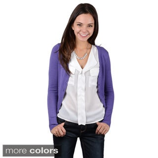 Journee Collection Junior's V-neck Button-up Cardigan