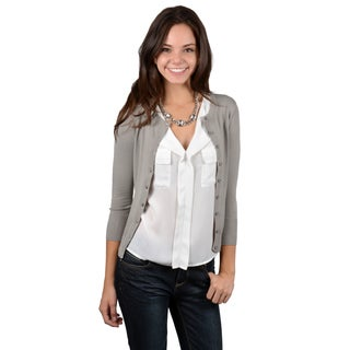 Journee Collection Junior's Three-quarter Sleeve Button-up Cardigan