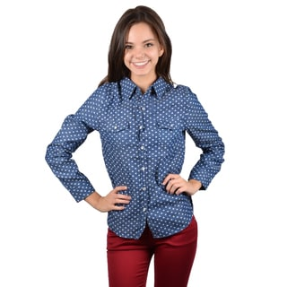 Journee Collection Junior's Long Sleeve Button-up Heart Print Top