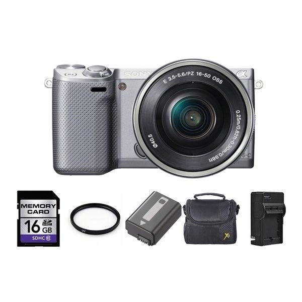 Sony Alpha NEX-5R Mirrorless Camera Body with 16-50mm Lens 16GB Bundle