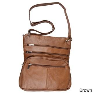 Journee Collection Women's Genuine Leather Zippered Cross-Body Handbag