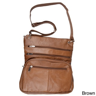 Journee Collection Women's Genuine Leather Zippered Cross-Body Handbag