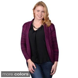 Tressa Designs Womens Contemporary Plus Long Open Front Cardigan