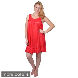 Tressa Designs Womens Contemporary Plus Rosette Accent Nightie