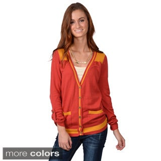 Journee Collection Junior's Two-tone Button-up Cardigan