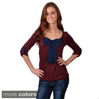 Journee Collection Junior's Roll Sleeve Bow Front Striped Top