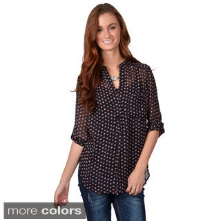 Journee Collection Junior's Roll Sleeve Button Detail Chiffon Top