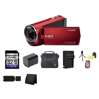 Sony HDR-CX220 8.9MP HD Handycam Red Camcorder 32GB Bundle