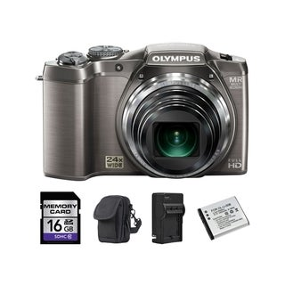 Olympus SZ-31MR iHS 16MP Silver Digital Camera 16GB Bundle