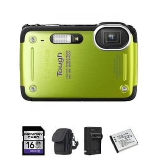 Olympus TG-620 iHS 12MP Green Waterproof Digital Camera 16GB Bundle
