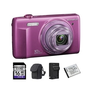 Olympus VR-340 16MP Purple Digital Camera 16GB Bundle